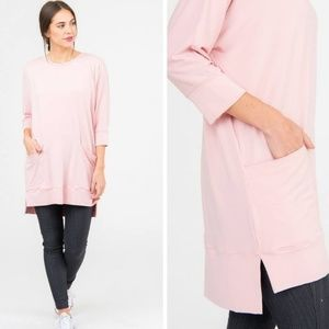 Tops - Deep Pocket Tunic Pink Small
